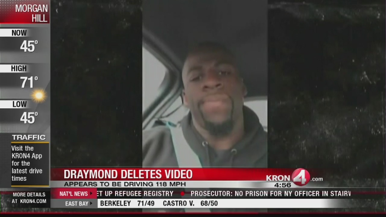 c4ebefd48eb7 Draymond Green posts video driving 118 MPH to Snapchat