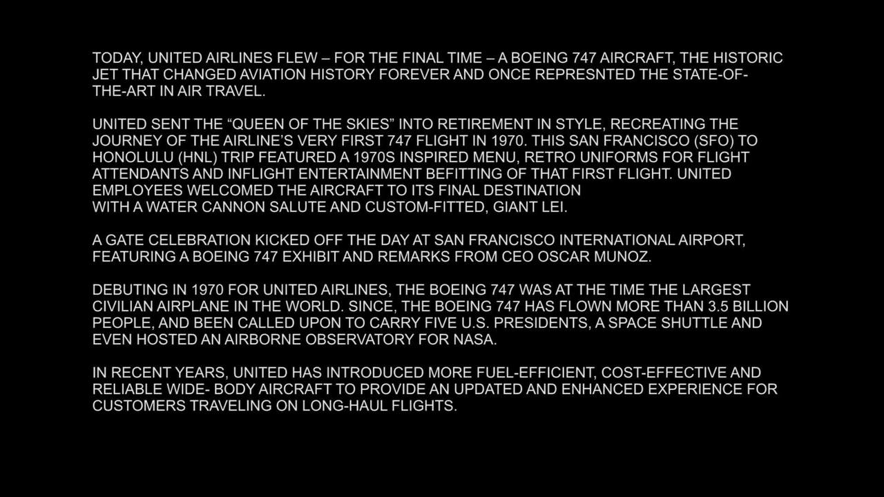 VIDEO: United Airlines bids farewell to Boeing 747 with final flight