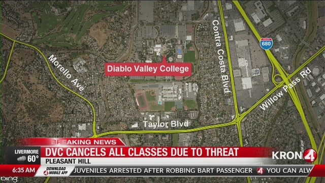 Diablo Valley College cancels cles after threat found on campus on