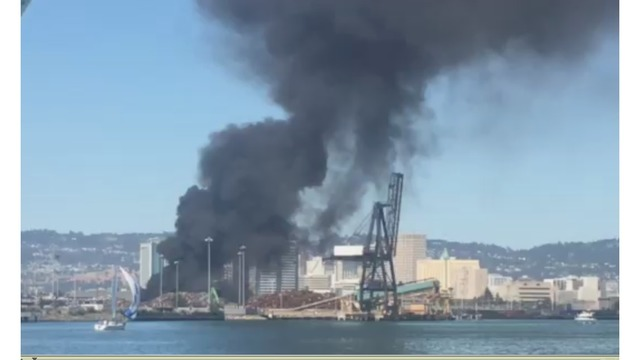 Scrap Metal Pile Catches Fire At Oakland Recycling Plant - Schnitzer metals recycling
