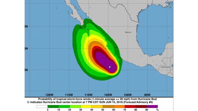 Hurricane Bud strengthens off Mexico's Pacific coast