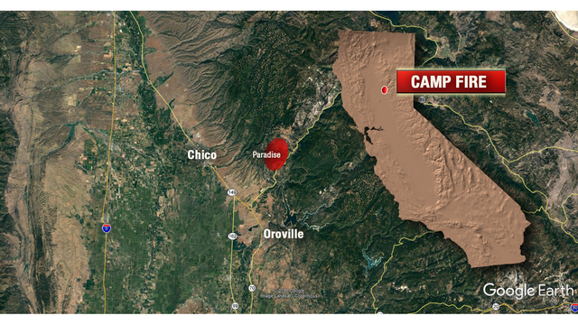 Interactive Map Camp Fire Burning In Butte County