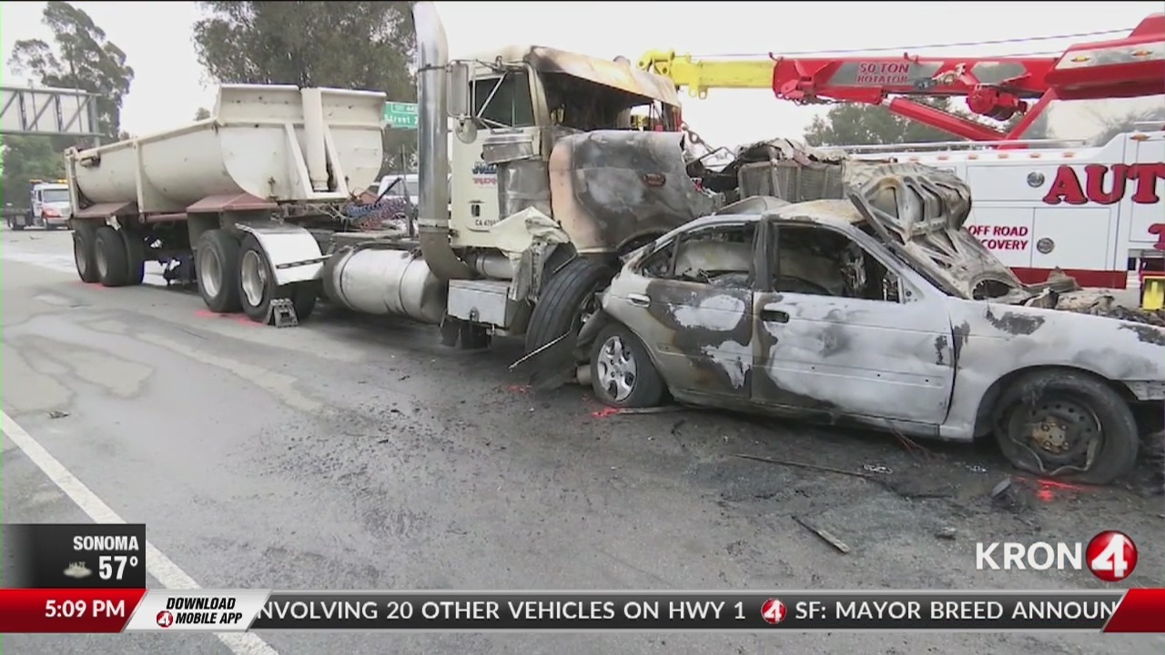11 injured in 'chain reaction' crash involving big rig, 21 cars on