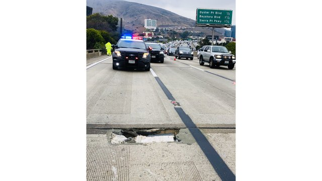 Hole in highway shuts down part of SB 101 in South San Francisco