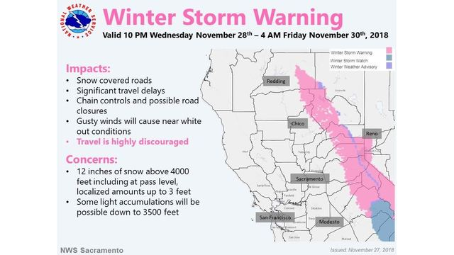 Storm to dump 2 feet of snow on Sierra mountaintops