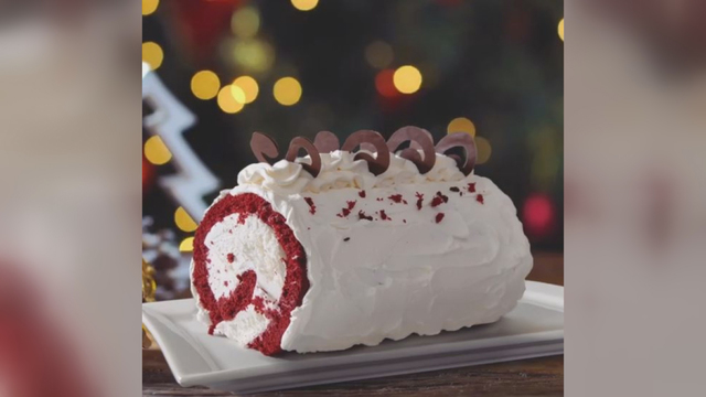 Baskin-Robbins selling red velvet rolls filled with cream cheese ice cream for the holidays