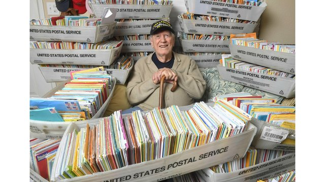 Daughter's plea draws 50,000 birthday cards for US veteran