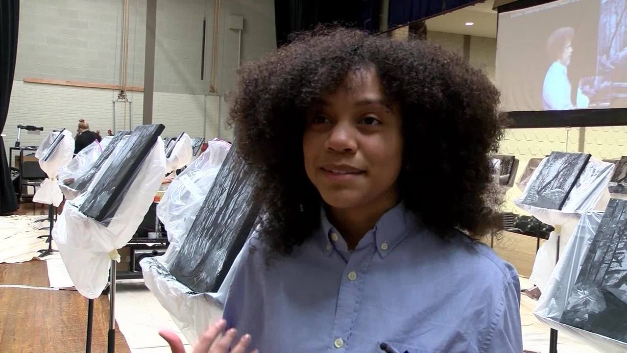 Art Class Dresses Up As Bob Ross