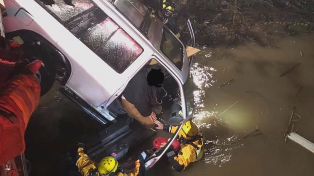 Santa Rosa firefighters rescue woman, dog from submerged car